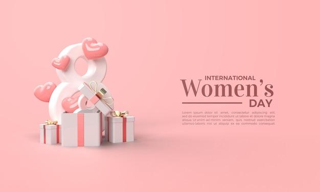 Dia da mulher 3d render com caixa de presente