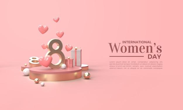Dia da mulher 3d renderizado com números dourados e várias caixas de presente