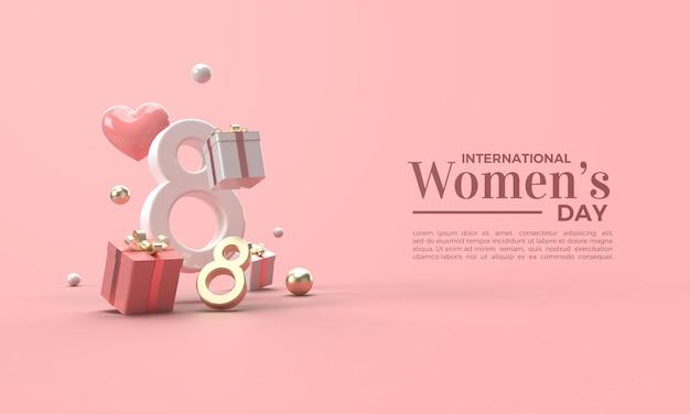 Dia da mulher 3d renderizado em algarismos dourados e brancos