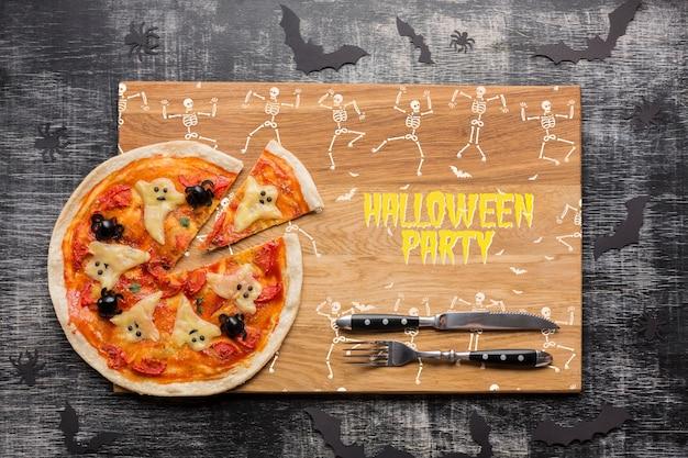 Dia das bruxas com conceito específico de pizza