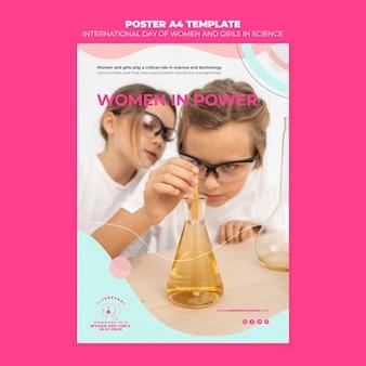 Dia das mulheres e meninas em modelo de pôster de ciências