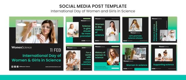 Dia das mulheres e meninas em postagens de instagram de ciências