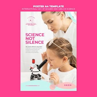 Dia das mulheres e meninas no panfleto de ciências