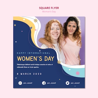 Dia das mulheres panfleto quadrado fêmeas sorrindo