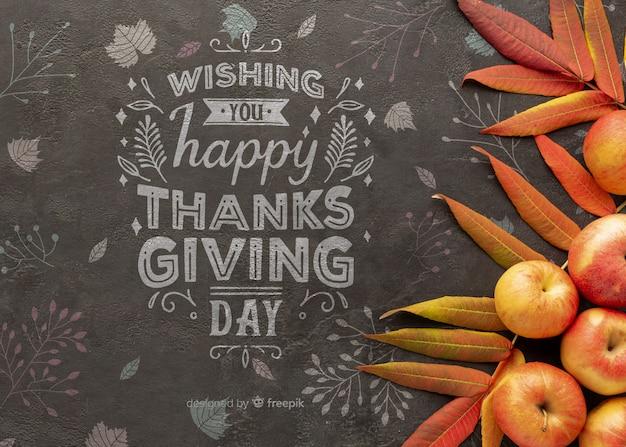 Dia de ação de graças com mensagem positiva