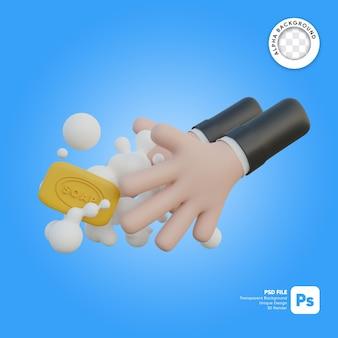 Dia de lavagem das mãos com ilustração 3d de sabão