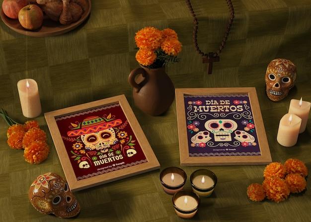Dia de mortos maquetes mexicanas tradicionais sobre fundo verde