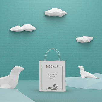 Dia do oceano saco de papel kraft com mock-up