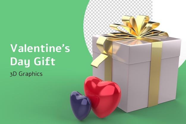 Dia dos namorados amor formas de coração e caixa de presente 3d isoladas