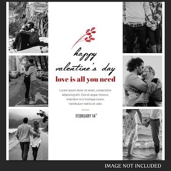 Dia dos namorados instagram post template e banner template