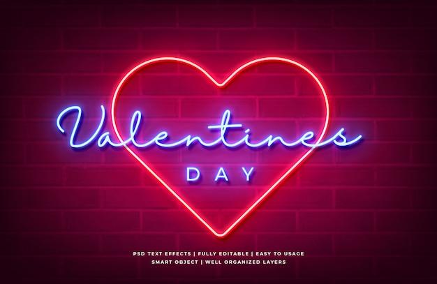 Dia dos namorados luz de neon efeito de estilo de texto 3d