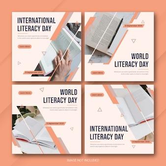 Dia internacional da alfabetização modelo de pacote de postagem do instagram psd premium