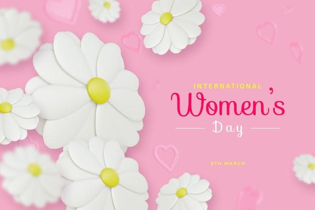 Dia internacional da mulher com maquete de renderização 3d de amor de flores