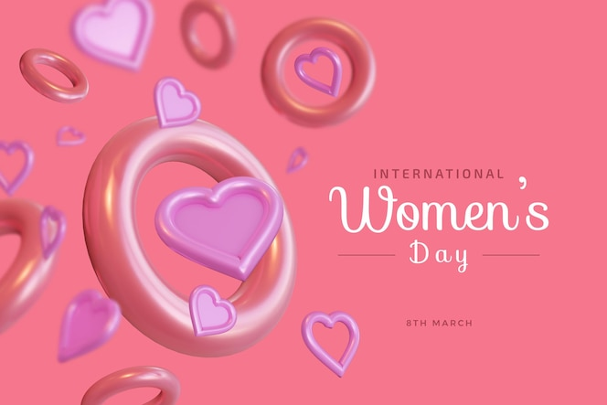 Dia internacional da mulher com maquete de renderização 3d de amor