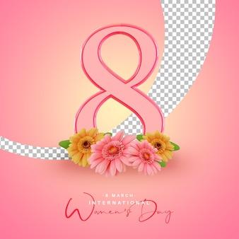 Dia internacional da mulher com renderização em 3d de flores
