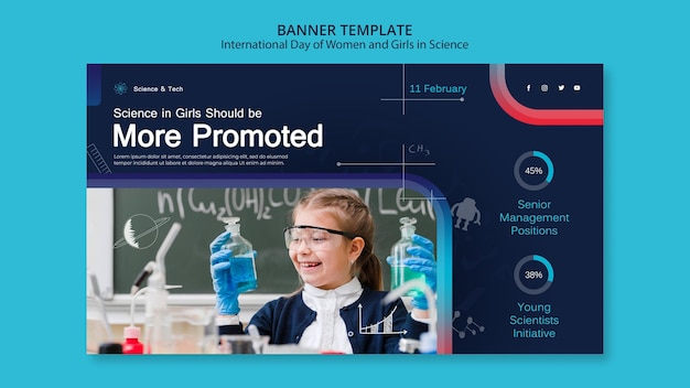 Dia internacional das mulheres e meninas em modelo de banner de ciência