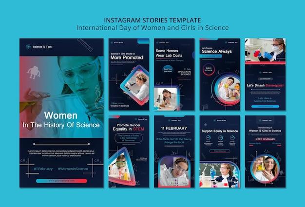 Dia internacional das mulheres e meninas nas histórias do instagram de ciências