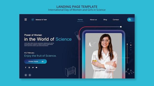 Dia internacional das mulheres e meninas no modelo da web de ciências
