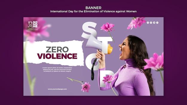 Dia internacional pela eliminação da violência contra a mulher banner com foto