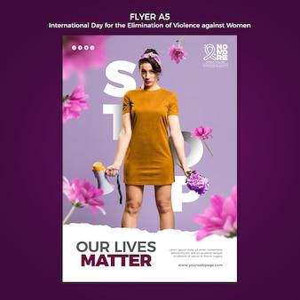 Dia internacional pela eliminação da violência contra as mulheres flyer