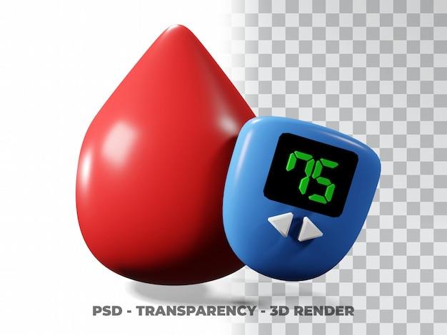 Dia mundial da diabetes, dia mundial do diabetes, modelagem 3d do dia do doador de sangue com gotas de sangue com fundo de transparência