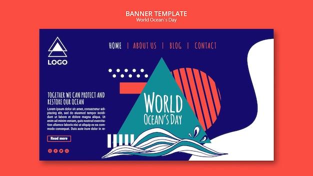 Dia mundial do oceano modelo banner