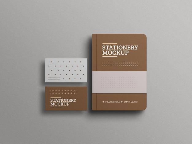 Diário com maquete de cartões de visita