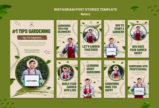 Dicas de jardinagem, histórias do instagram