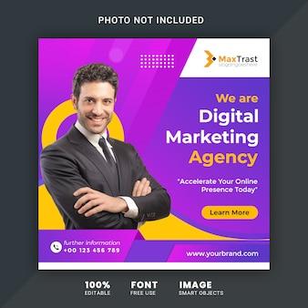 Digital marketing social media square banner psd