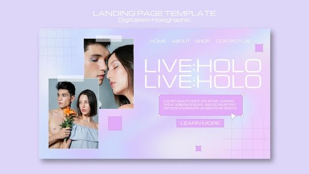 Digitalismo holográfico com página de destino de casal