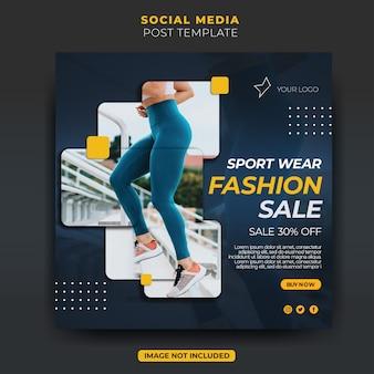 Dinâmica moda esporte venda post feed de mídia social instagram