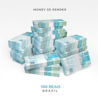 Dinheiro brasileiro 100 reais 3d render