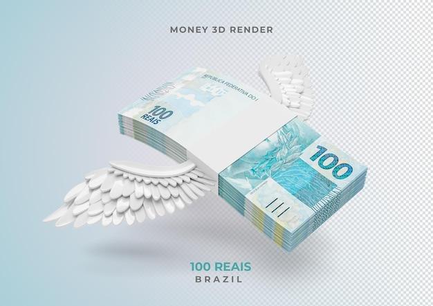 Dinheiro brasileiro 100 reais com asas 3d render