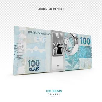 Dinheiro brasileiro 100 reais com bloqueio 3d render