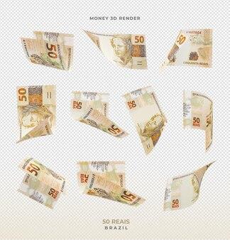 Dinheiro brasileiro 50 reais 3d render