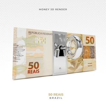 Dinheiro brasileiro 50 reais com bloqueio 3d render