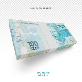 Dinheiro brasileiro com cédula de 100 reais 3d render
