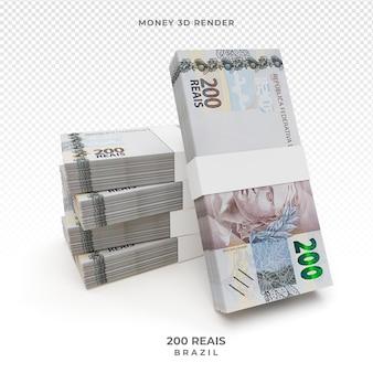 Dinheiro brasileiro com cédula de 200 reais 3d render