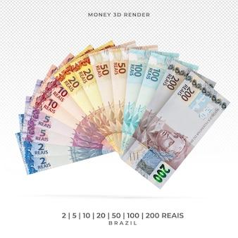 Dinheiro brasileiro com notas variadas 3d render