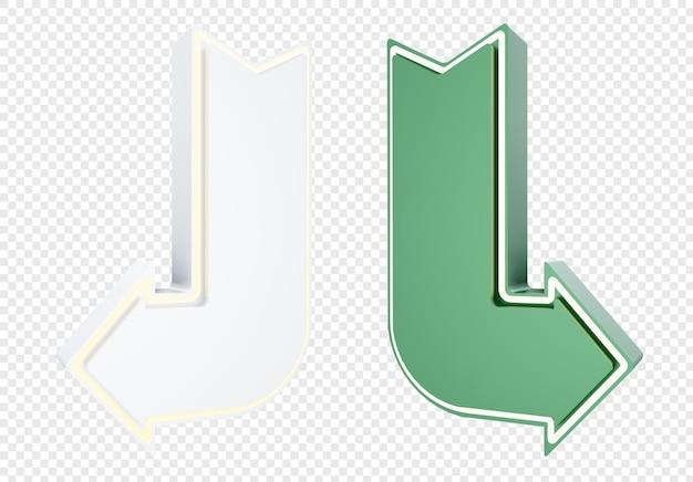 Direção de seta 3d realista com cor branca e verde