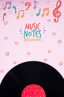 Disco de música no conceito de notas musicais