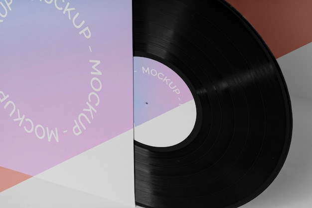 Disco de vinil retrô abstrato com maquete de embalagem