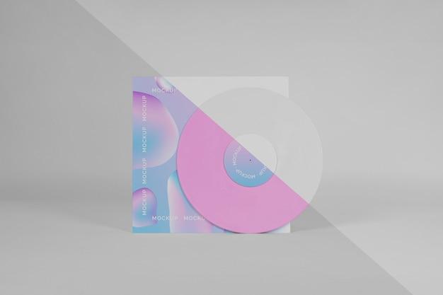 Disco de vinil retrô com modelo abstrato de embalagem