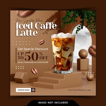 Display de menu de bebidas de conceito criativo com renderização de fundo de pódio 3d para modelo de post instagram