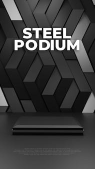 Display de produto de pódio com padrão siver de aço