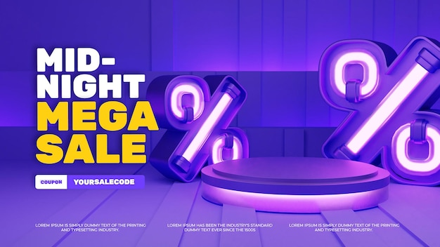 Display de produto em pódio com luz neon 3d