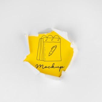 Disposição da vista superior da tag de mock-up