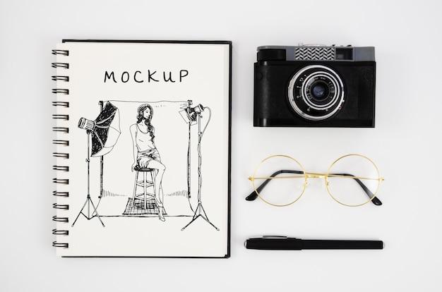 Disposição plana da câmera do notebook
