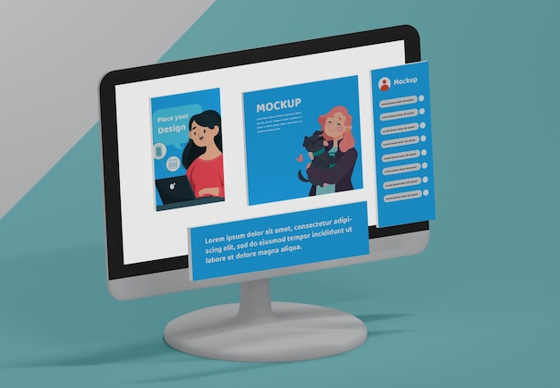 Dispositivo com maquete de plataforma de mídia social