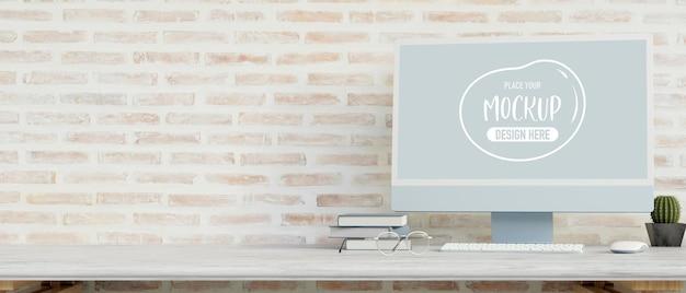 Dispositivo de computador com tela de maquete na mesa renderização em 3d